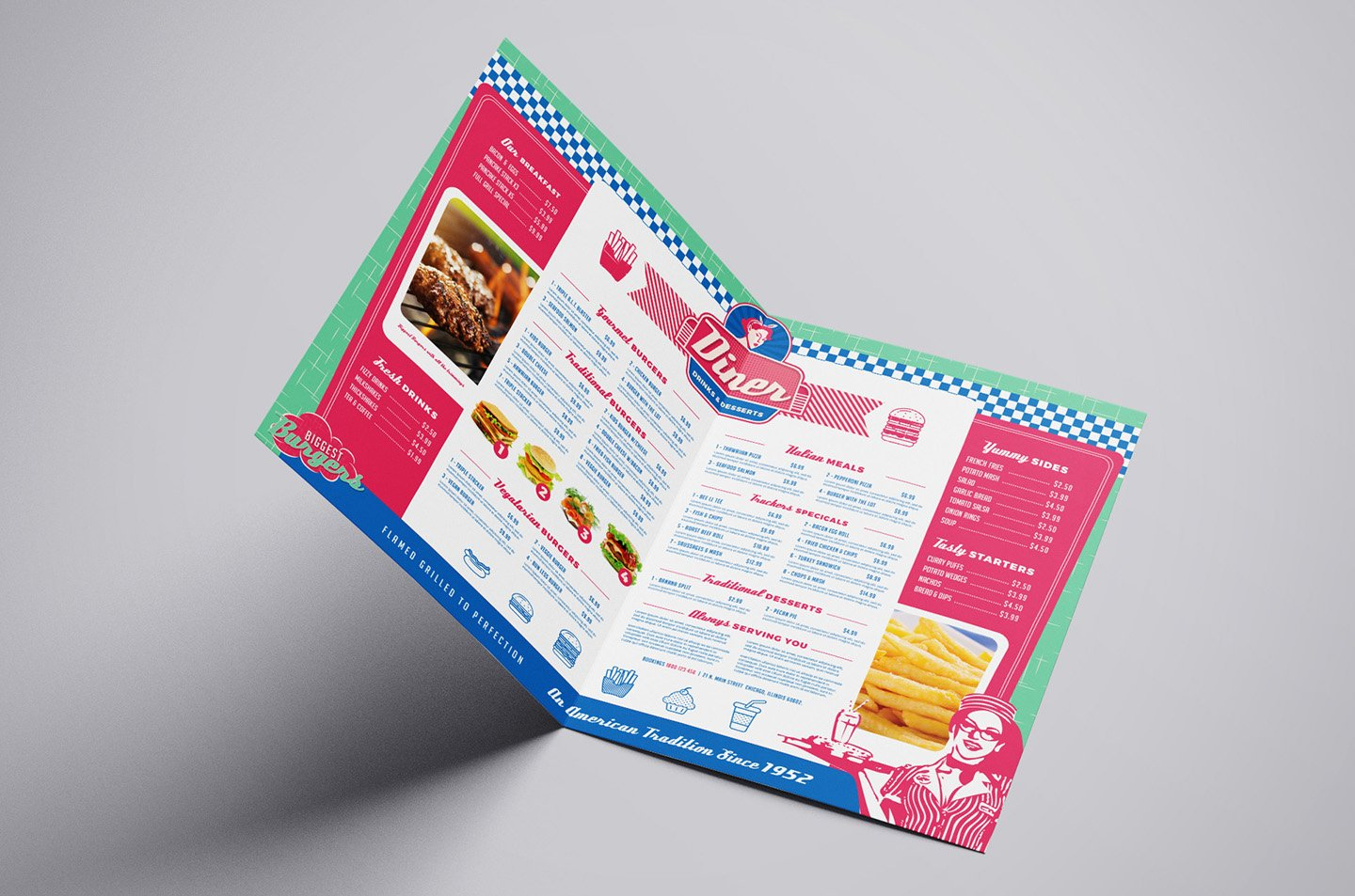 A American Diner Menu Template Brochure Templates Creative Market - Foldable menu template