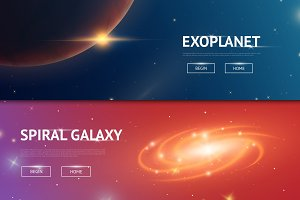 Astronomical galaxy space background. Planets in solar system for the banner. Modern design of the universe for cards. moon and the sun, mercury and earth, mars and venus. vintage style.