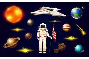 Astronaut spaceman. planets in solar system. Astronomical galaxy. cosmonaut explore adventure. Space shuttle, Mars and sun, earth and venus. banner or background for a web site.