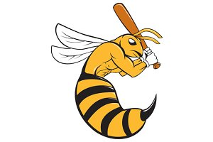 Killer Bee Baseball Player Bat Carto