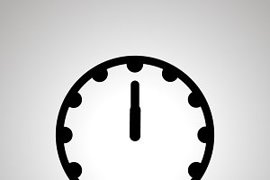 Clock face showing 12-00 simple icon