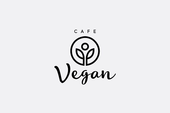 Vegetarian Healthy Food Cafe Logo