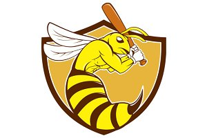 Killer Bee Baseball Player Bat Crest