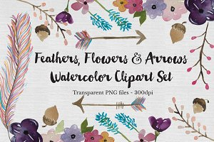 Watercolor Feather, Flowers & Arrows