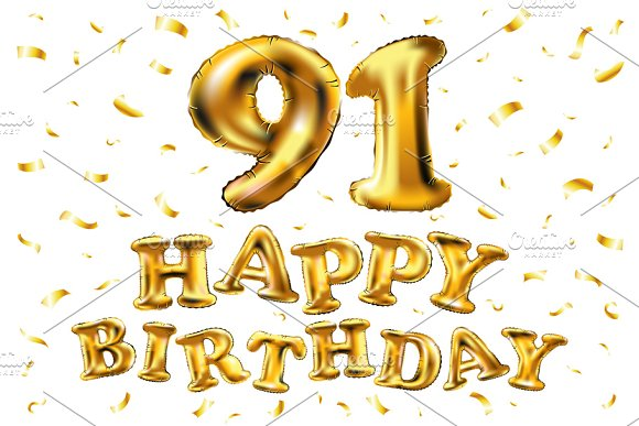 Happy Birthday 91 Balloons Gold