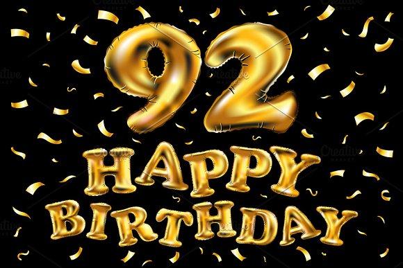Happy Birthday 92 Balloons Gold