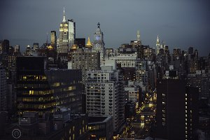New York City streets view at night