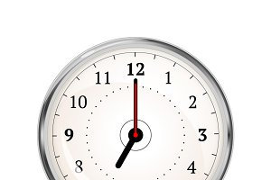 Realistic clock face showing 07-00