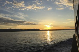 Sunset on a ferry
