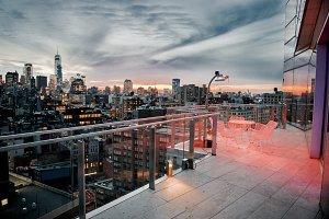 Luxury city rooftop balcony