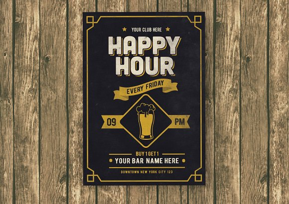 Classic Happy Hour Drinks Flyer