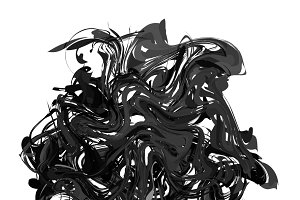 Black paint splash isolated on white