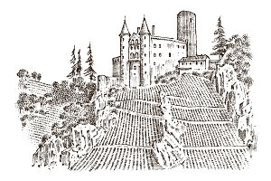 Castle on a hill. Ancient Landscape for the label. Engraved Hand drawn sketch in vintage victorian style. Travel to Europe to the historic building. Fairy Tale Fortress or palace, mansion house.