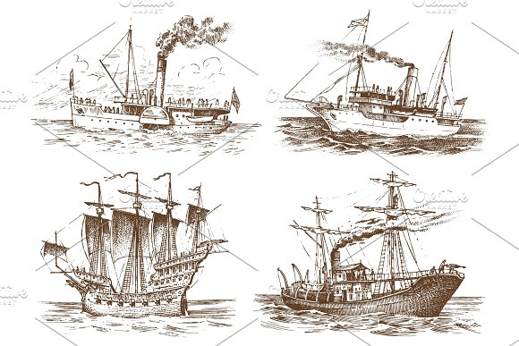 Motor Ship In The Sea Summer Adventure Active Vacation Seagoing Vessel With Steam Smoke From The Pipe Nautical Sail Marine Boat Water Transport In The Ocean Engraved Hand Drawn In Vintage Style