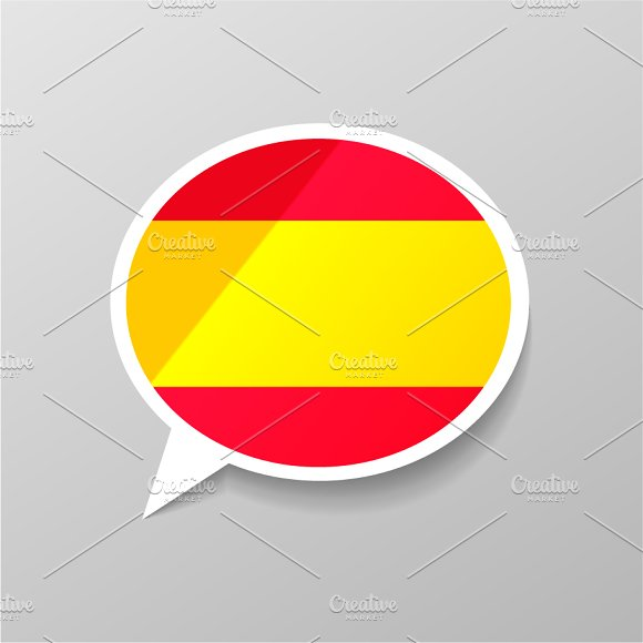 Speech Bubble Shape With Spain Flag