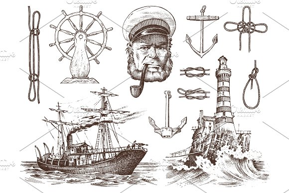 Boatswain With Pipe Lighthouse And Sea Captain Marine Sailor Nautical Travel By Ship Engraved Hand Drawn Vintage Style Summer Adventure Seagoing Vessel And Rope Knots Boat Wheel And Anchor