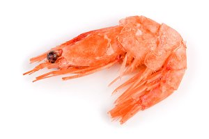 Red cooked prawn or shrimp isolated on white background