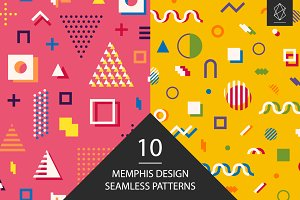 Memphis design seamless patterns set