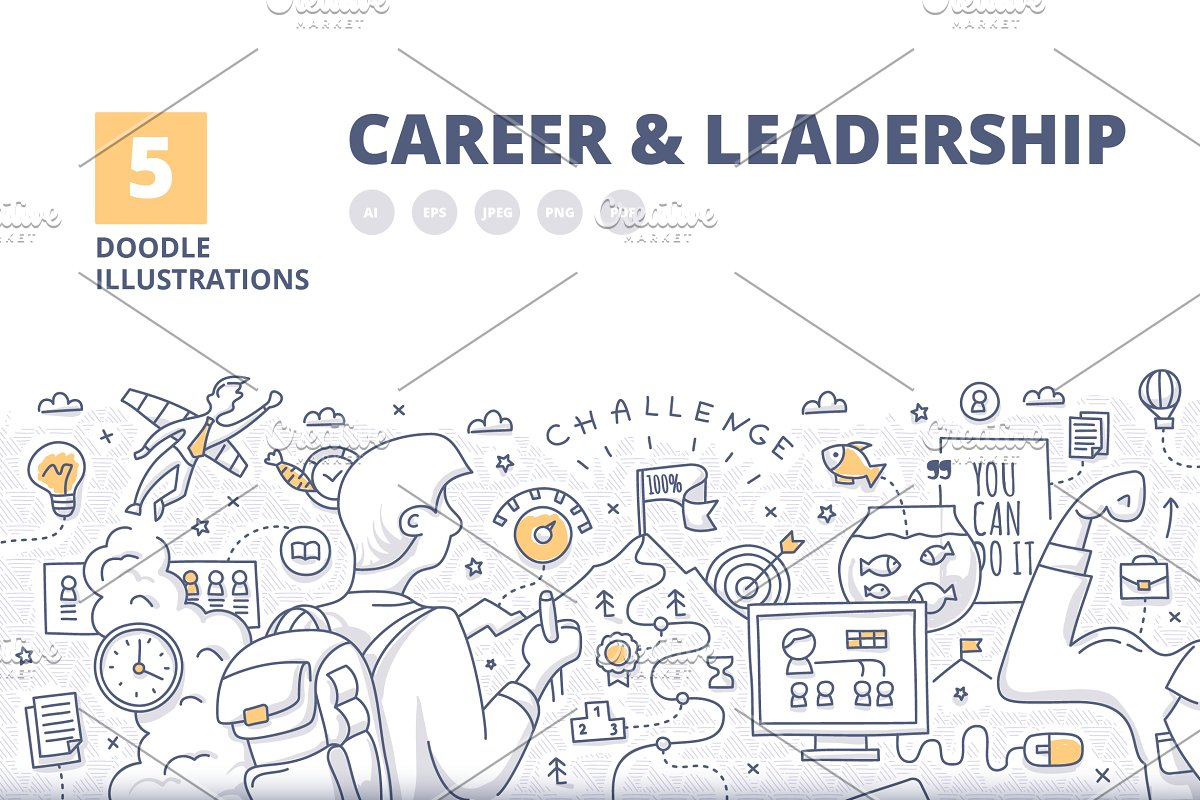 5 Concepts of Career & Leadership ~ Illustrations ~ Creative