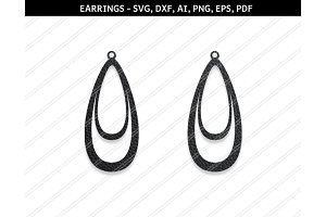 Teardrop earrings svg,dxf,ai,eps,png