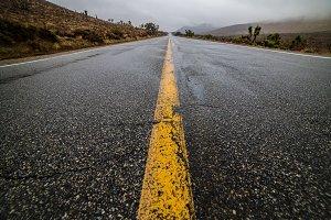 Empty wet desert asphalt road