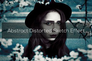 Abstract Distorted Sketch Effect