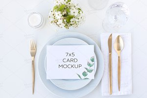 Greenery Wedding Menu Card Mockup