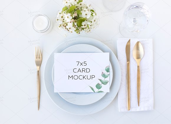 Greenery Wedding Menu Card Mockup