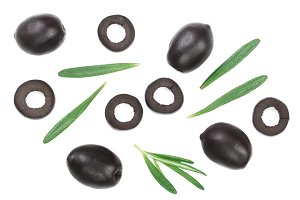 whole and sliced black olives with rosemary leaves isolated on white background. Top view. Flat lay pattern