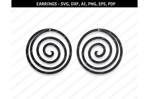Spiral earrings svg,dxf,ai,eps,png