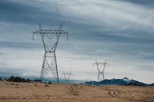 High voltage power lines in mountain