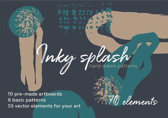 Inky splash. Brush pattern bundle.
