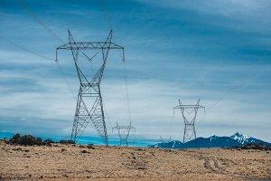 High voltage power lines in desert