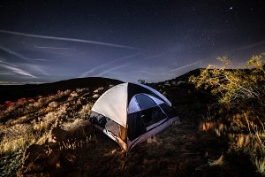 Camping in the tent in scenic desert