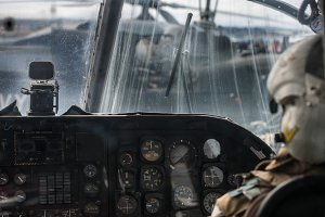 Military helicopter pilot operate