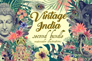 Vintage India 2. Illustrations set