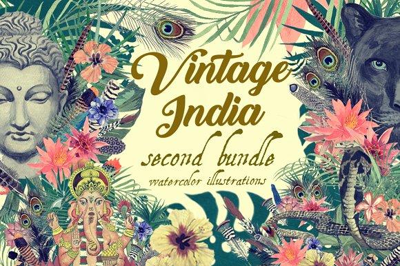 Vintage India 2 Illustrations Set