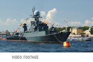 Military ship on Neva river