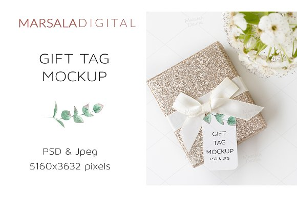 Free Gift Tag Mockup Psd