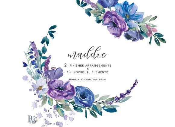Watercolor Purple Floral Clip Art