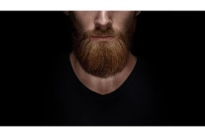 Close up of long beard and mustache of bearded man