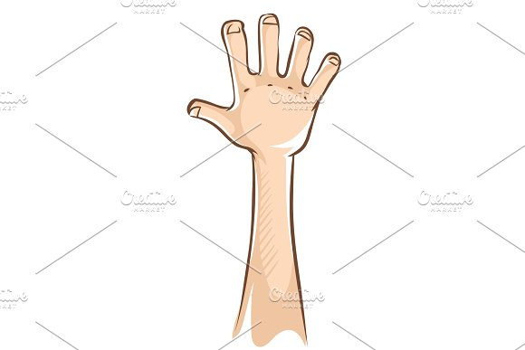 Hand With Open Palm And Five Fingers