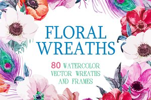 80 Watercolor wreaths mega set