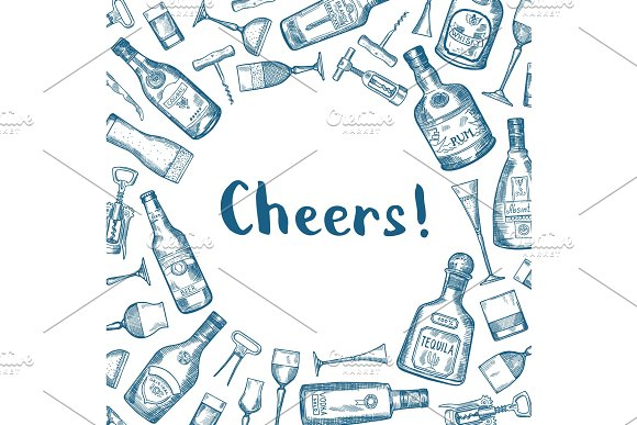 Vector Hand Drawn Alcohol Drink Bottles And Glasses Background Illustration