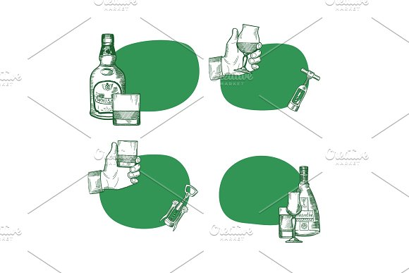 Vector Set Of Stickers With Hand Drawn Alcohol Drink Bottles And Glasses