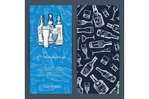 Vector hand drawn alcohol drink bottles and glasses