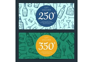 Vector alcohol drink bottles and glasses discount or gift card