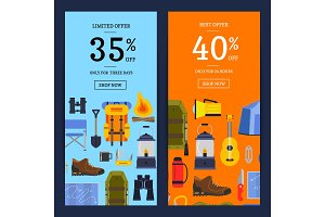 Vector flat style camping elements sale banners illustration
