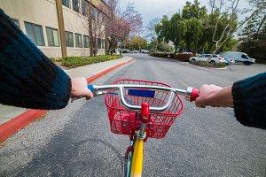 Man riding on bicycle to work