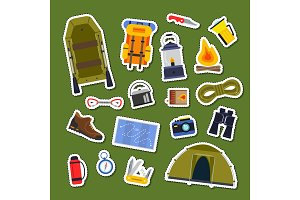 Vector set of flat style camping elements stickers